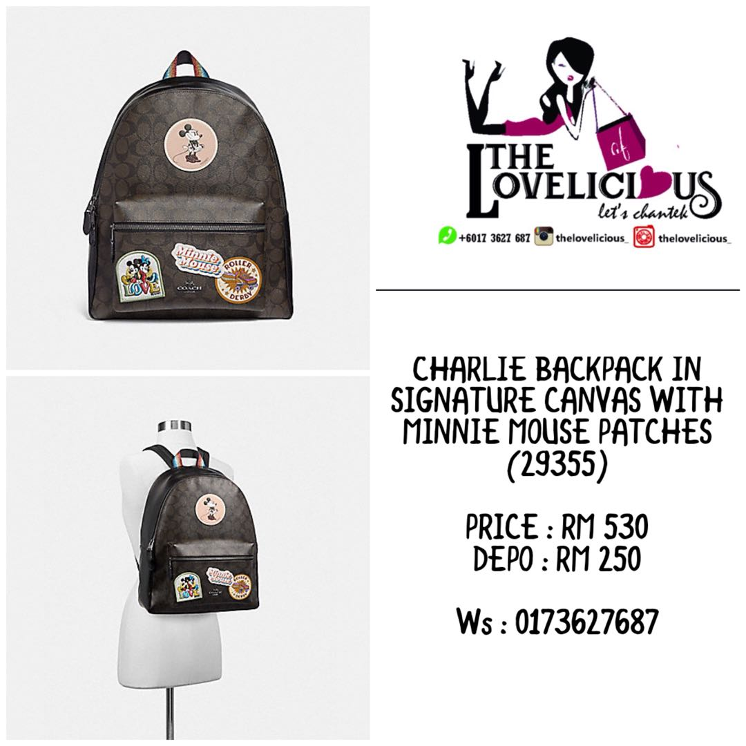 b19854d58 CHARLIE BACKPACK IN SIGNATURE CANVAS WITH MINNIE MOUSE PATCHES COACH ...