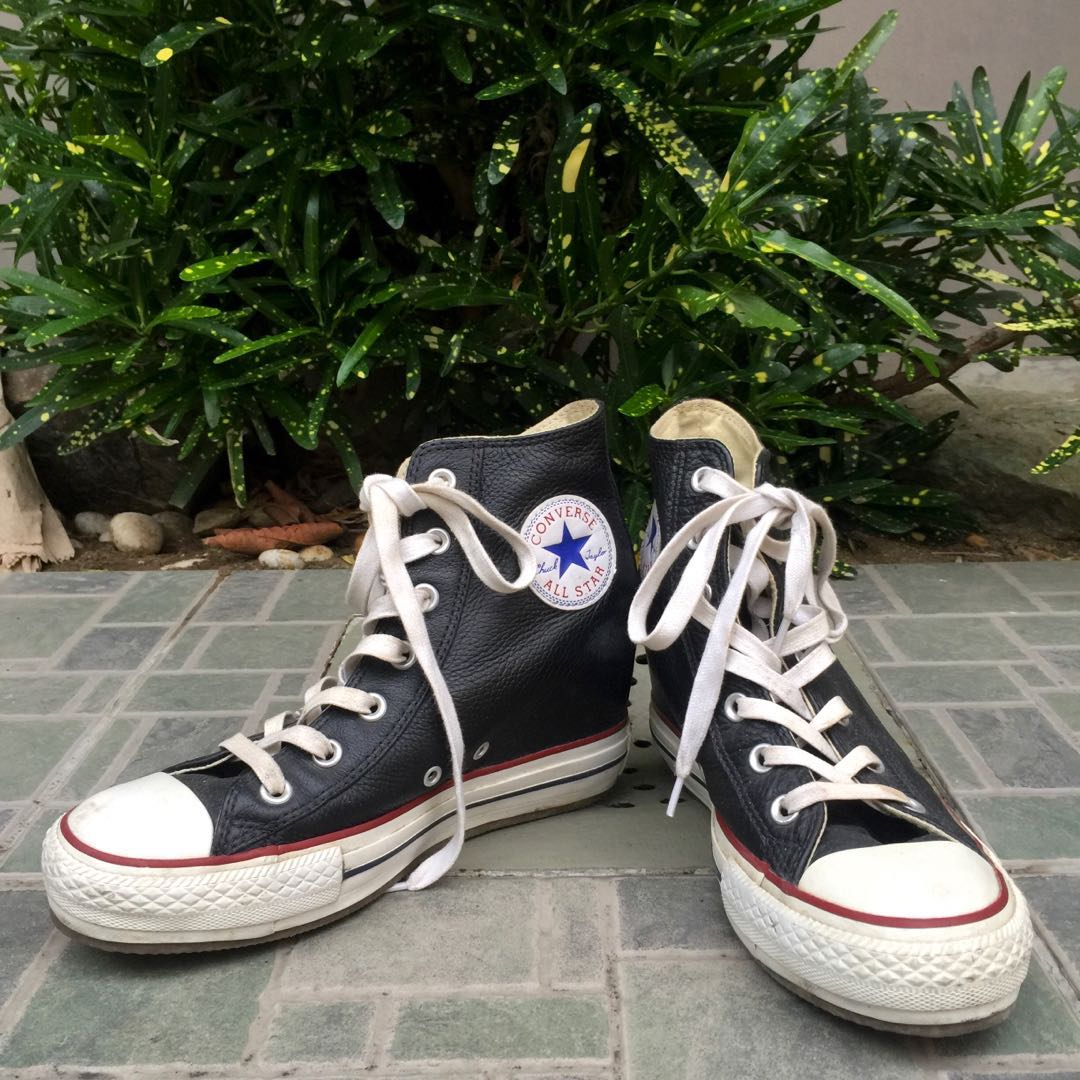 3091582b2b19 Converse Chuck Taylor All Star Hidden Wedge Heels in Black Leather ...