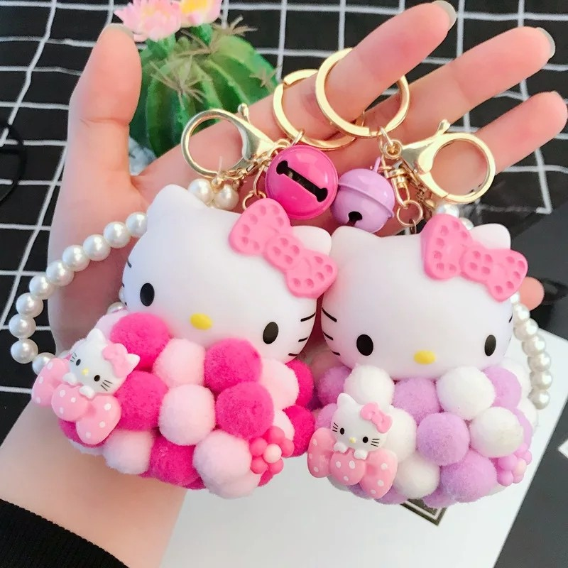 Cute Hello Kitty KiKi Doll KeychainPompom Small Fur Ball KT Key ... 4460be25b17ee