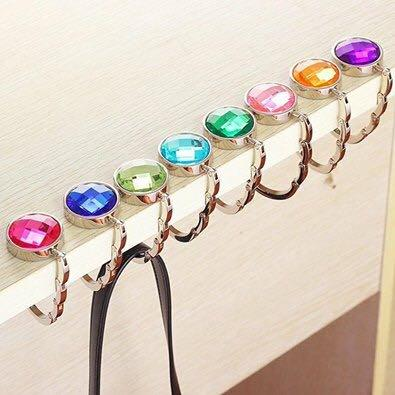 Foldable Crystal Alloy Handbag Hook - Available in 7 colours