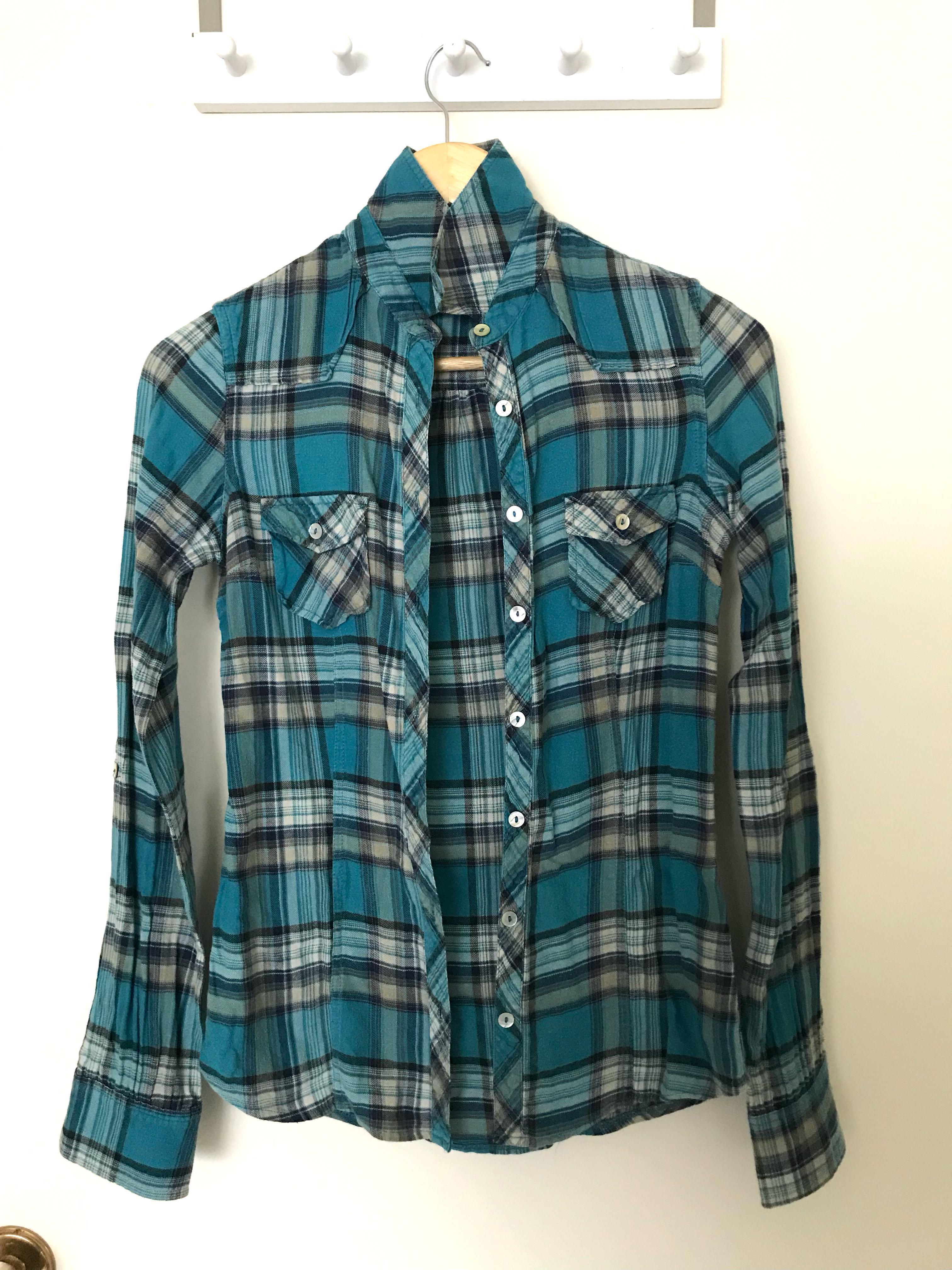 Green Checkered Long Sleeved Shirt