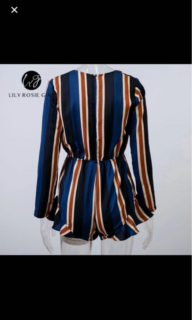 Long sleeve striped tie up playsuit