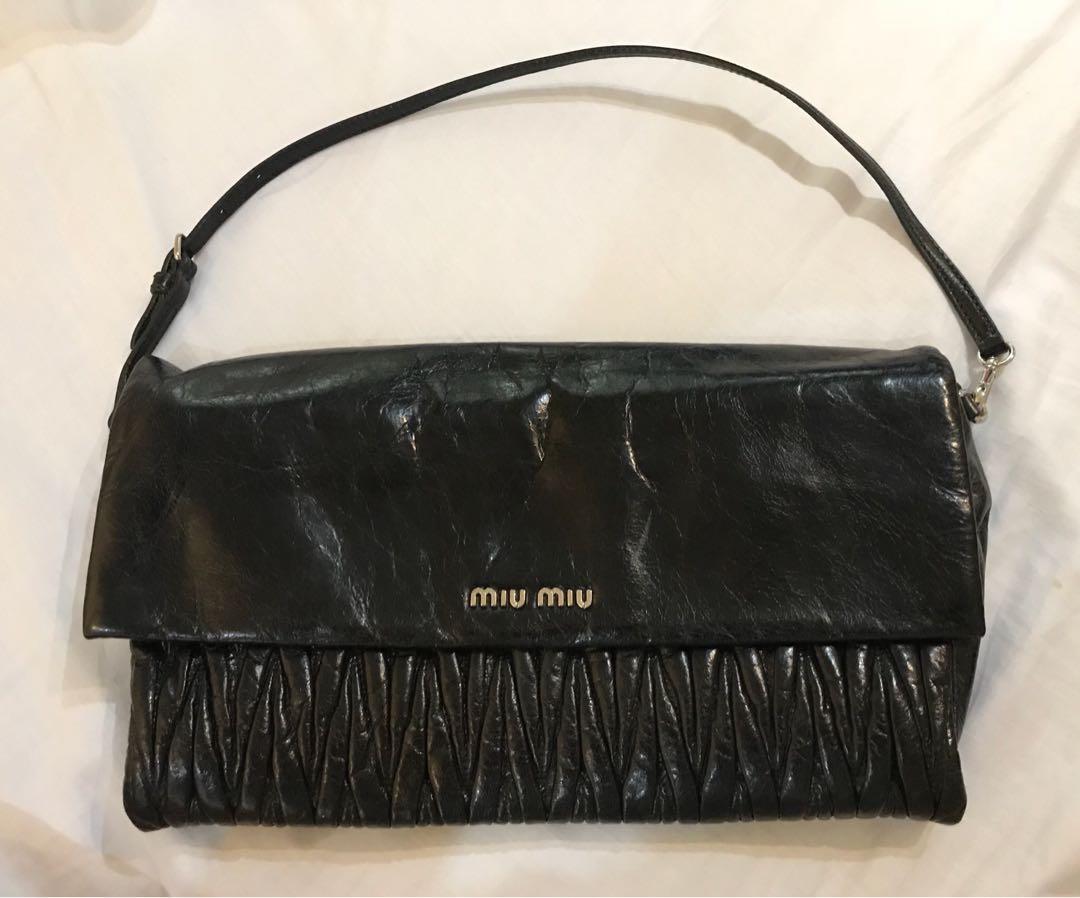 de5a075816b Miu Miu Matelasse Lux Clutch Bag black, Women's Fashion, Bags ...