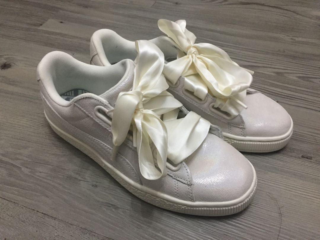 separation shoes f2c8e 61d32 Puma Basket Heart Trainers Puma White Shine