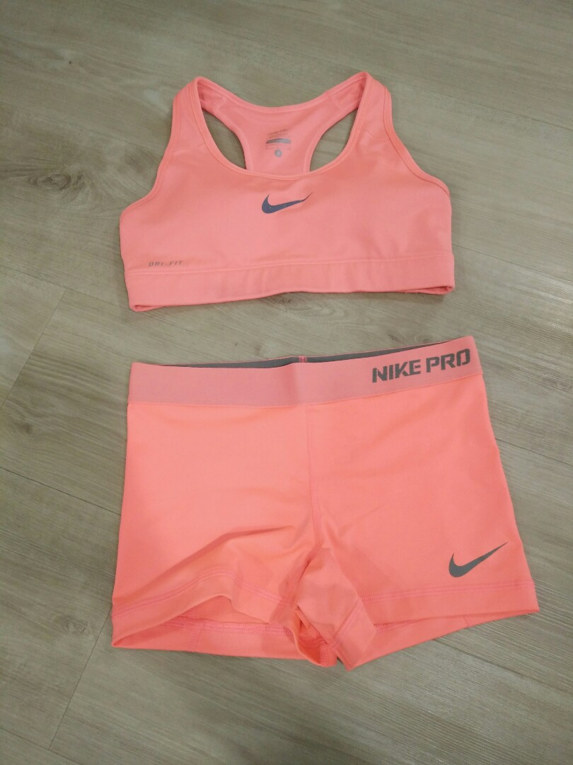 nike sports bra and spandex set