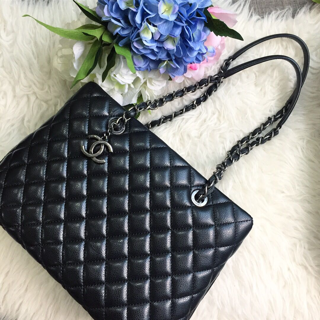 Chanel Seasonal Tote in Black Caviar RHW., Luxury, Bags   Wallets, Handbags  on Carousell 213794dc38