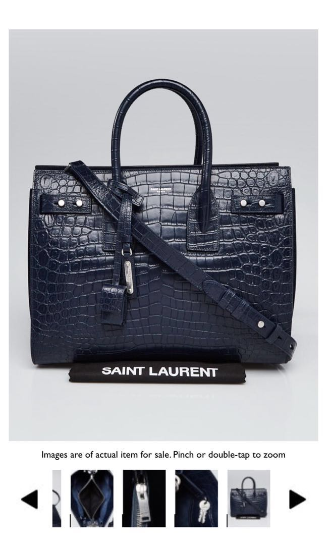 14ea0cadbf29 YVES SAINT LAURENT Medium Blue Crocodile Embossed Leather Classic Small Sac  de Jour Bag