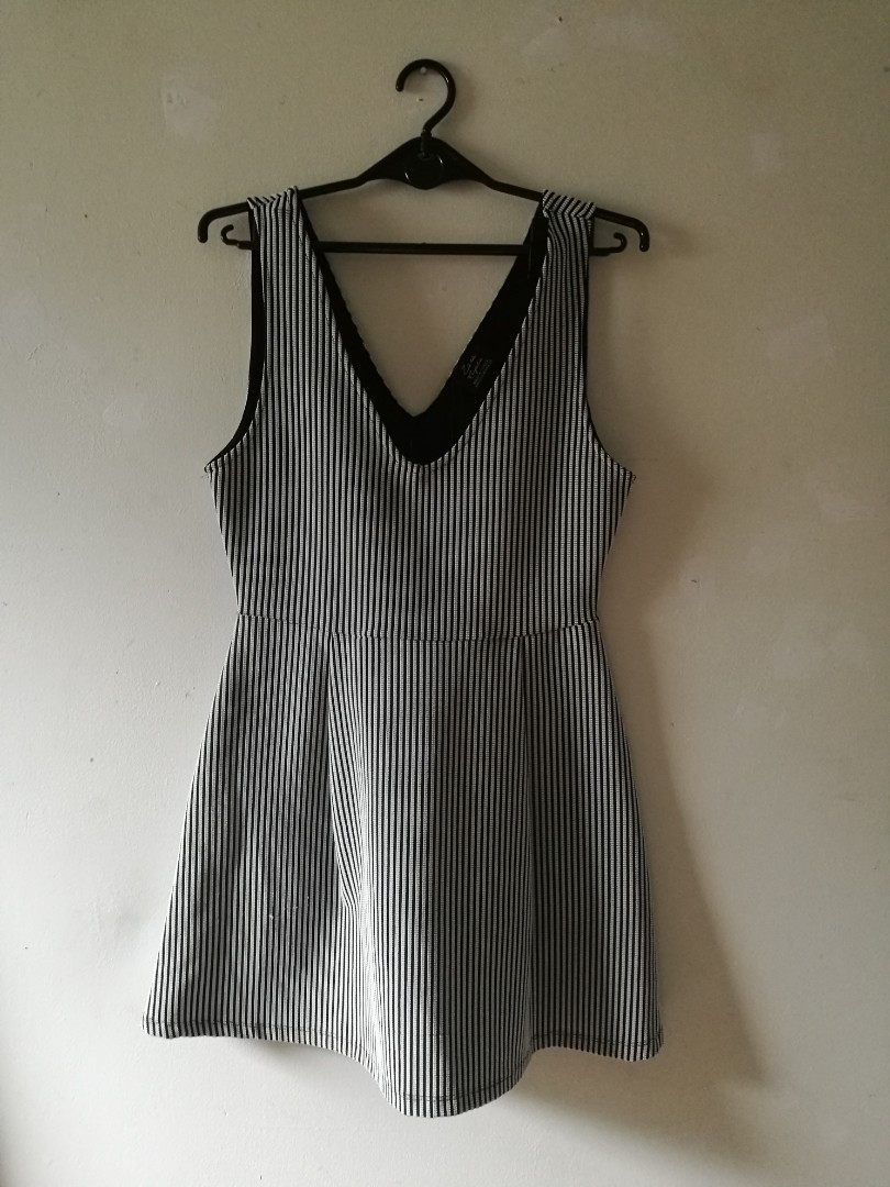 f52093ef734 Zara Black And White Striped Dress Women S Fashion Clothes On