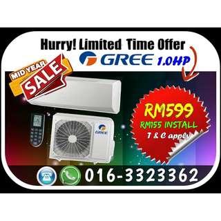 MID YEAR SALE Brand New Aircond GREE/SHARP 1.0HP 599/699 KL & Selangor