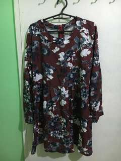 Floral long sleeves maroon dress