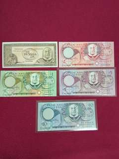 Tonga 1/2 , 1, 2, 5 and 10 pa'anga set of 5 old issue