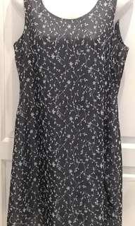 L Grey Leafy Dress