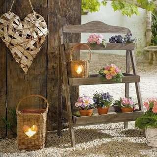 美式鄉村復古手工製三層盆栽架折叠置物架   S/L