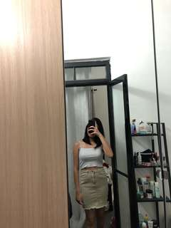 Valleygirl Green Denim Fitted/Pencil Skirt