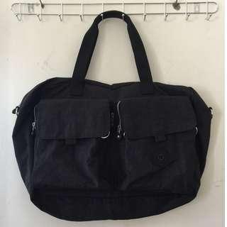 柏油黑素面旅行包/側背包