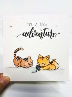 Handmade Cat Greeting Cardstock