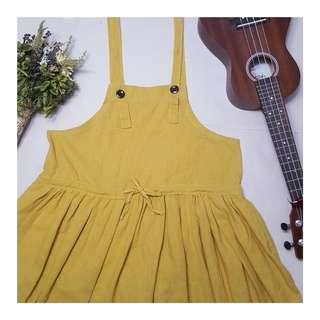 knee length mustard overall dress