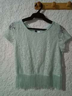 H&M mint green laced cropped top with fringe design