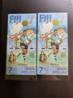 (兩連號) Fiji 斐濟 7蚊 世上唯一面值 7元 鈔票 7人Rugby 外國 紙幣 收藏