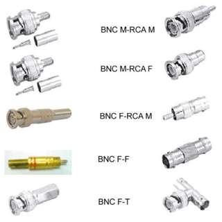 CCTV - DC Plug, DC Socket, BNC Male/Female Connector, RJ45, RG59, RG59 Crimp Connectors, BNC Male Jack Video Balun (WHOLESALE PRICES for all CCTV CONNECTORS/PLUGS)