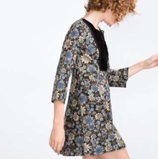 Zara floral dress with velvet panel