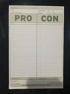 Pro Con Notepad