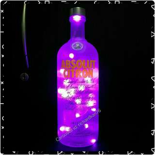 Absolut Citron with Purple Fairy Light LEDs (1l)