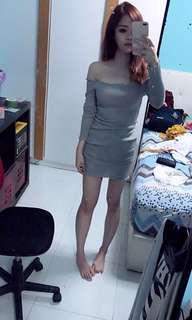 Grey off shoulder dress
