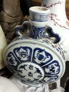 """18"""" old porcelain vase 老青花陶瓷花瓶"""