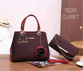 Carlo Rino 2 in 1 Handbag Claret Color
