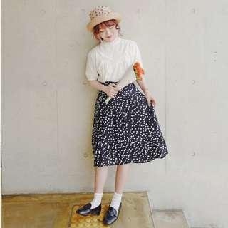 猫日屋 法式復古波點半身長裙