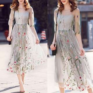 Floral Tulle Dress Transparant