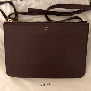 Celine trio small in burgundy