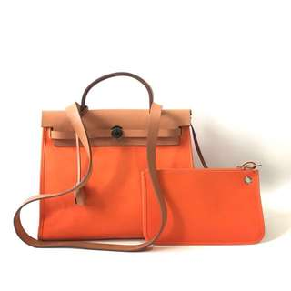Preloved Hermes Herbag 31 Orange stamp N with pouch, keylock, clochette, & dustbag.