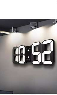 Digoo LED Wall Clock Alarm Clock Digital 3D White Snooze 12/24 Hour Display USB. 8.71cm x 21.49cm