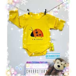 👶🏻 6M LONG SLEEVES BODYSUIT ONESIE YELLOW ORANGE FRIDAY BABY CLOTHING CASUAL