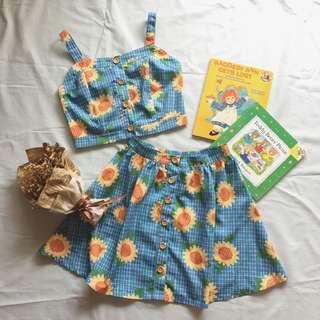 猫日屋 古著印花 向日葵少女 背心套裝