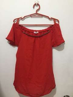 Red Blouse (can also be worn as off-shoulder)