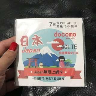日本docomo7日2GB 4G上網咭 包郵