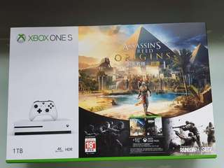 JULY Promotion - Xbox One S 1TB AC Origins + Rainbow Six + One month Xbox Game Pass Bundle