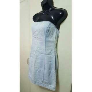 Zara Soft Denim Tube Dress