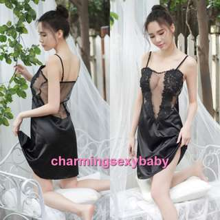 Pajamas Nightwear See-Through Babydoll Dress + G-String Sleepwear Sexy Lingerie BH1088