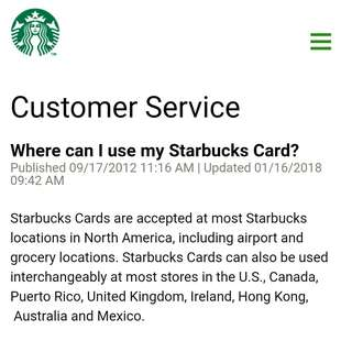Starbucks® Card Countries Reference