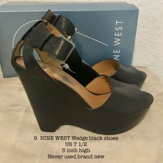 Nine west wedge black shoes heels