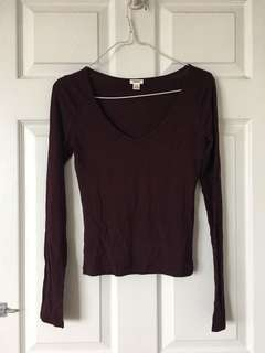Garage Burgundy Scoop Neck Fitted Long Sleeve