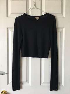 Aritzia Black Cropped Knit Long Sleeve