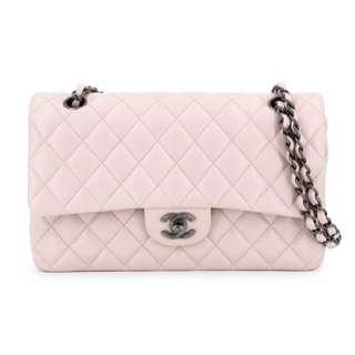 美品Chanel淡粉色魚子醬復刻銀扣Double flap bag 25x16x7cm