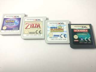Nintendo 3ds cartridge pokemon moon zelda ocarina sega