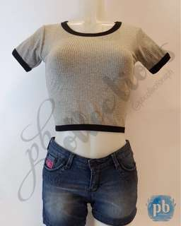 Outlined Crop Top (Grey)