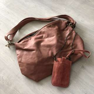 Orange pink handbag